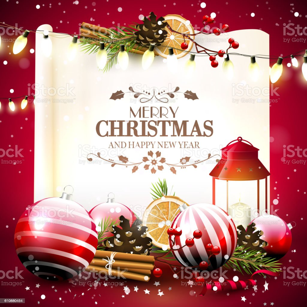 Traditional Christmas Greeting Card Stock Vector Art & More Images ...
