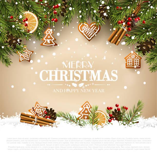 bildbanksillustrationer, clip art samt tecknat material och ikoner med traditionell jul gratulationskort - pepparkaka