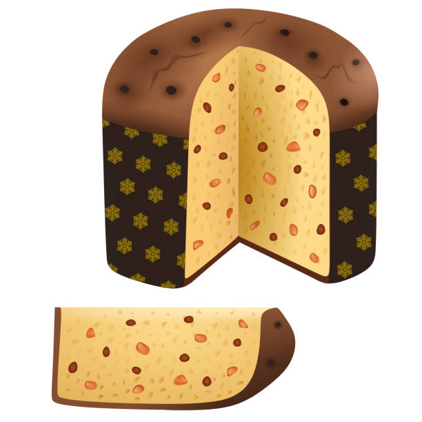 illustrazioni stock, clip art, cartoni animati e icone di tendenza di traditional christmas italian cake panettone - panettone
