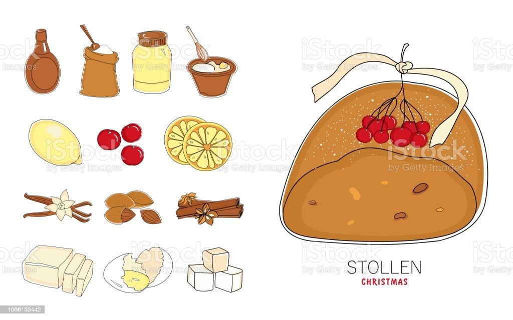 Weihnachtsgebäck Clipart.Traditionelles Weihnachtsgebäck Kuchen Stollen Und Eine Reihe Von