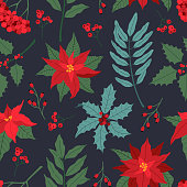Christmas seamless pattern, with colored plants. Poinsettia, holly berry, and laurel leaves in flat cartoon style, modern ornate for New Year, decoration on dark blue background.