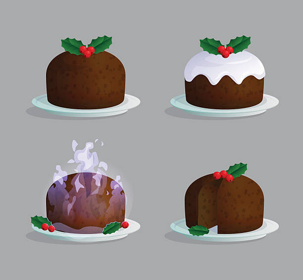 traditional christmas pudding illustration set - pflaumenkuchen stock-grafiken, -clipart, -cartoons und -symbole