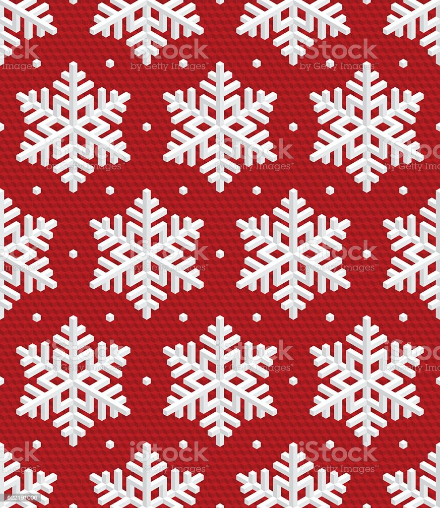 Traditional Christmas Seamless Pattern with Isometric 3D Snowflakes. vector art illustration