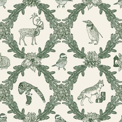 Traditional Christmas Winter Argyle Animal Seamless Pattern