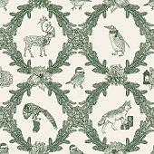 istock Traditional Christmas Winter Argyle Animal Seamless Pattern 1281346300