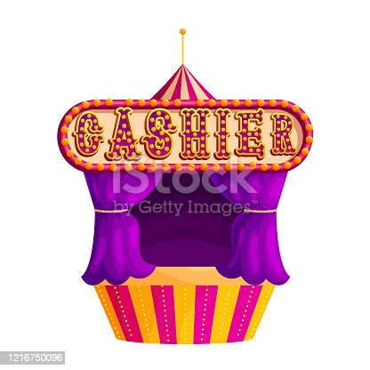 Traditional circus ticket window flat vector illustration. Festival cashier tent with bulbs. Amusement park. Carnival event. Magician show, performance, entertainment. Control pass