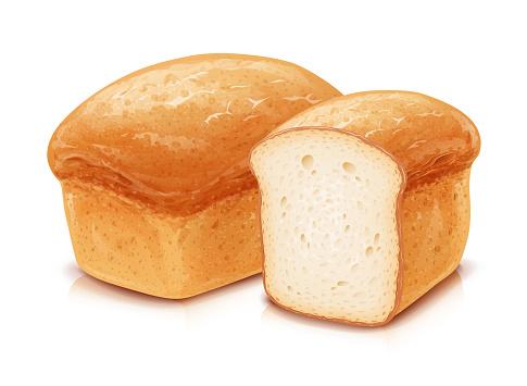 Traditional classic bread. White wheat flour baking.