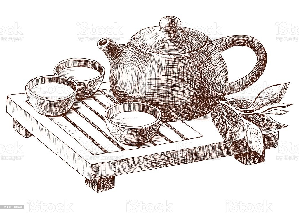 Traditional Clay Pot And Pialats Set For Chinese Tea ...