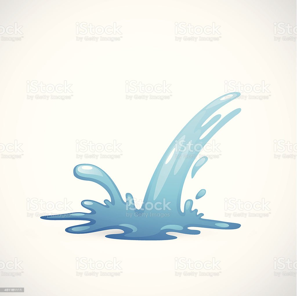 Traditional clip art styled graphic of blue water splashing vector art illustration