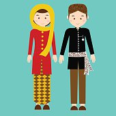 traditional clothes betawi jakarta indonesia ethnic cloth vector couple pakaian adat illustration
