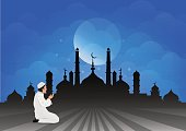 Traditional clothes muslim man making a supplication (salah) while standing on a praying rug against the backdrop of the mosque. illustration