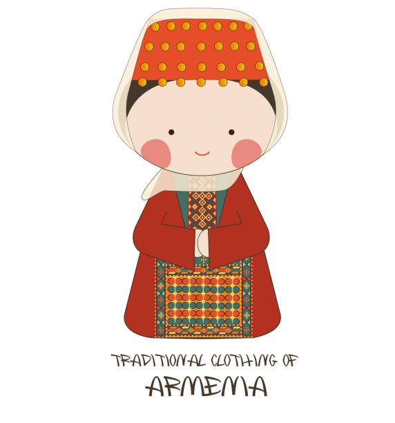 Traditional Clothing of Armenia Adorable cute illustration of traditional clothing of Armenia. armenian ethnicity stock illustrations
