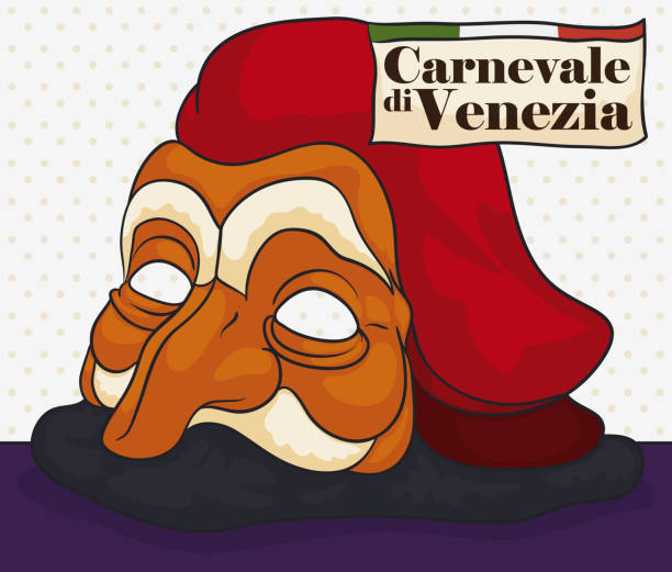 traditional costume of pantalone character for venice carnival - old man slippers stock illustrations, clip art, cartoons, & icons
