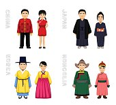 Traditional Costumes Cartoon Vector Illustration 1