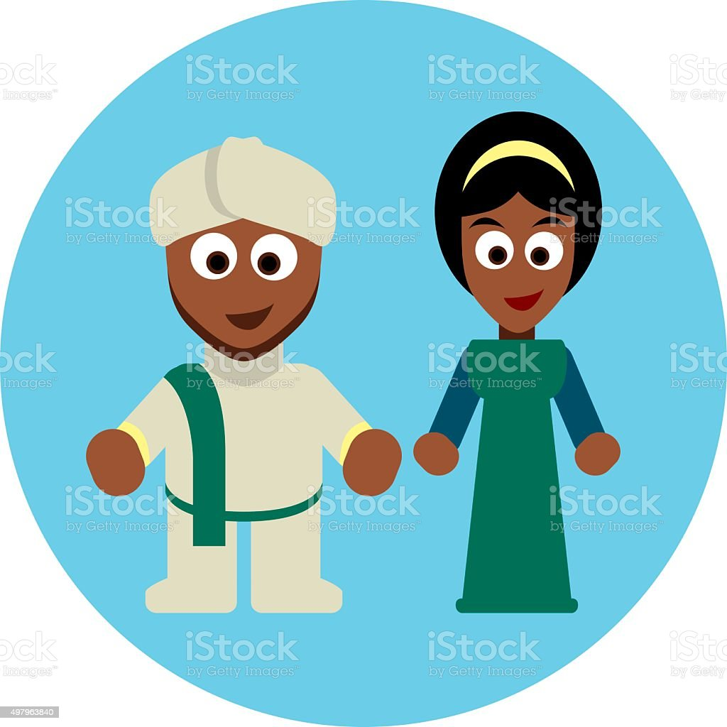 Traditional costumes icon - Africa and India vector art illustration