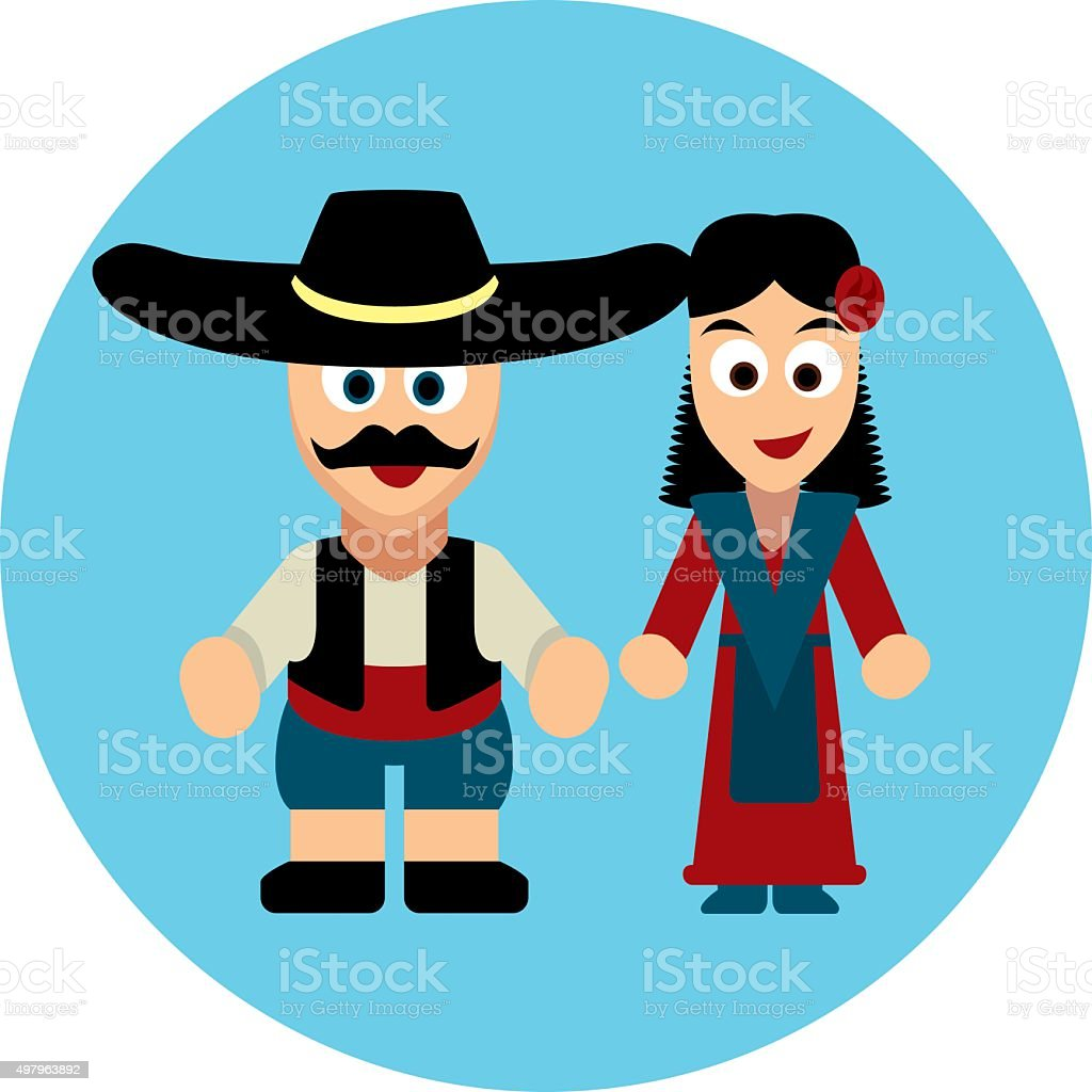 Traditional costumes icon - Europe: Germany, Spain, Italy, France, England vector art illustration