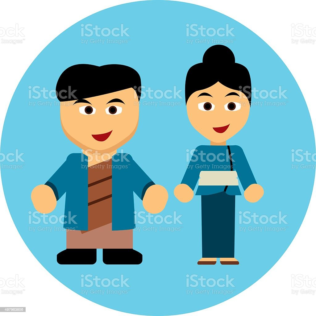Traditional costumes icon - Japan vector art illustration
