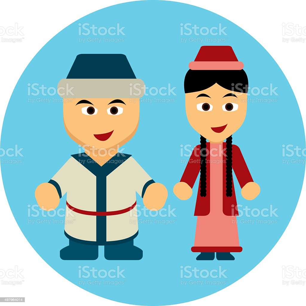 Traditional costumes icon - Kazakh, Mongol vector art illustration