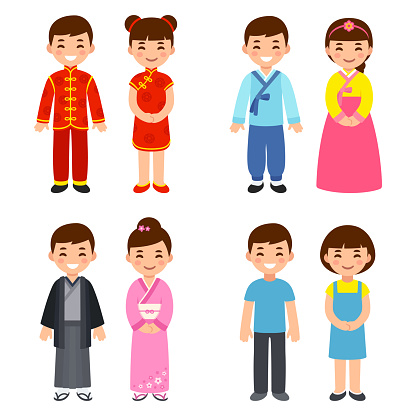 Traditional costumes of Asian countries
