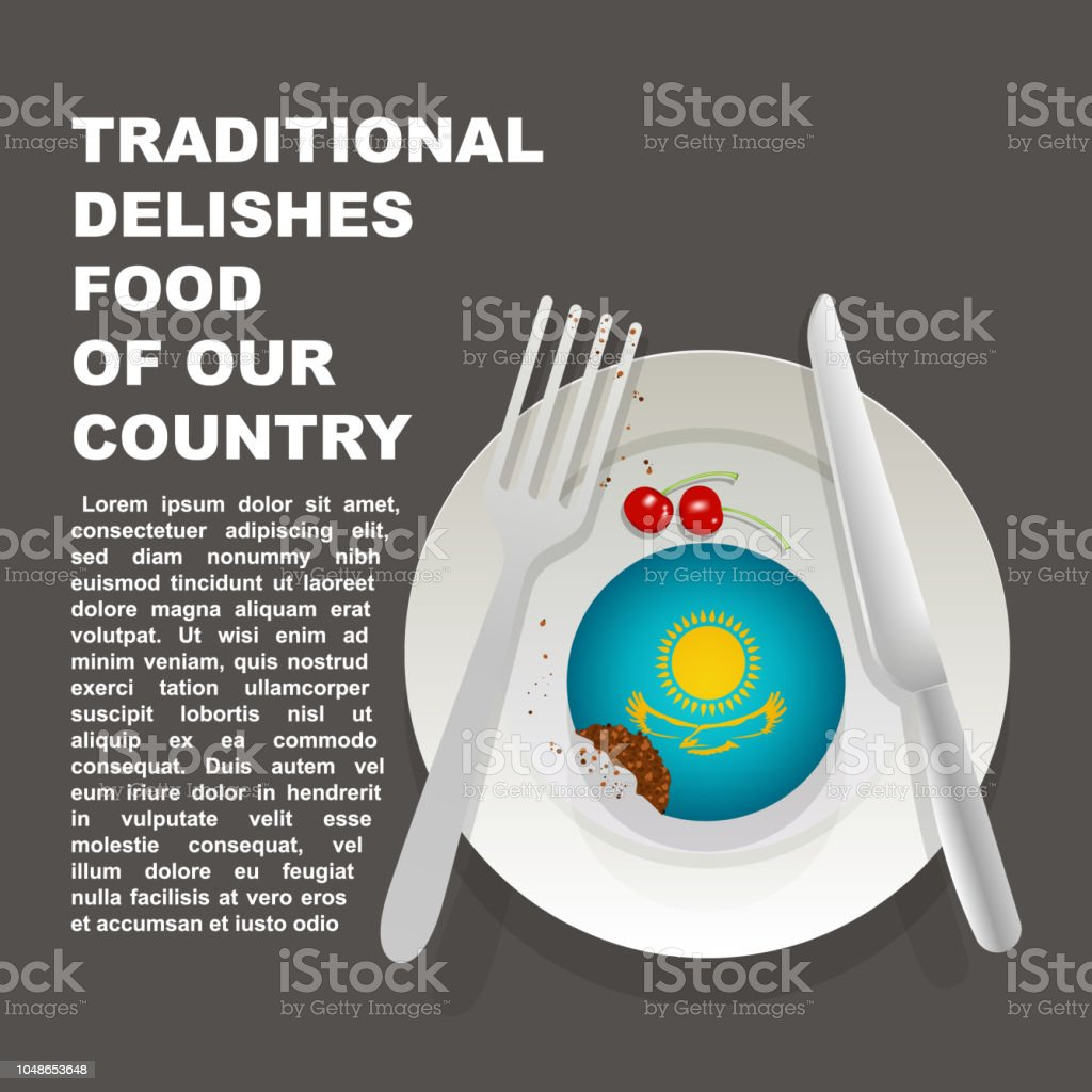 Traditional delicious food of Kazakhstan country poster. Asian national dessert. Vector illustration cake with national flag of Kazakhstan vector art illustration