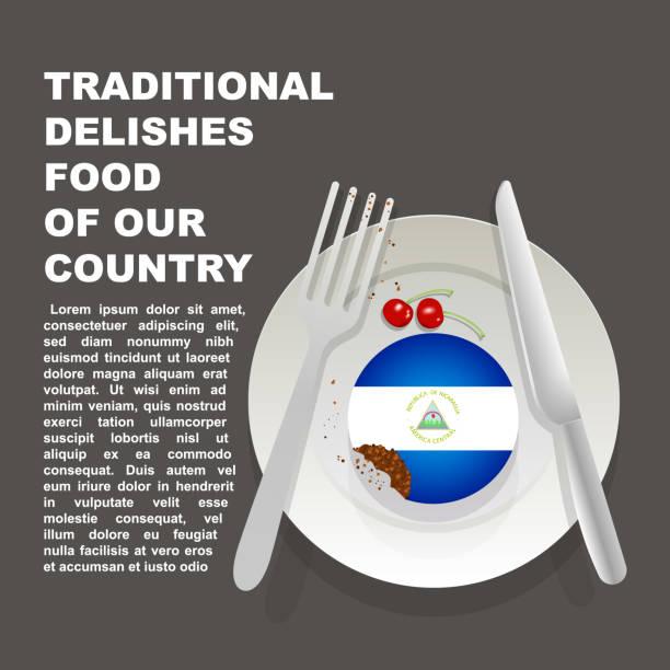 traditionelle köstlichkeiten von nicaragua land plakat. amerikanische nationale dessert. vektor-illustration-kuchen mit nationalflagge nicaraguas - managua stock-grafiken, -clipart, -cartoons und -symbole