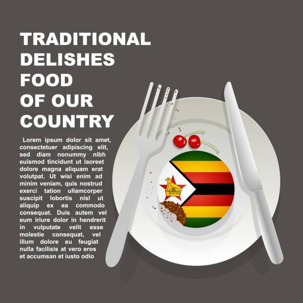 traditionelle köstlichkeiten der simbabwe-land-plakat. afrikanische nationale dessert. vector illustration kuchen mit nationalflagge von simbabwe - salisbury stock-grafiken, -clipart, -cartoons und -symbole