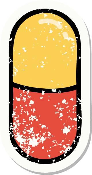 stockillustraties, clipart, cartoons en iconen met traditionele verontruste stickertatoeatoeatoeatoegering van een pil - stickers met relief
