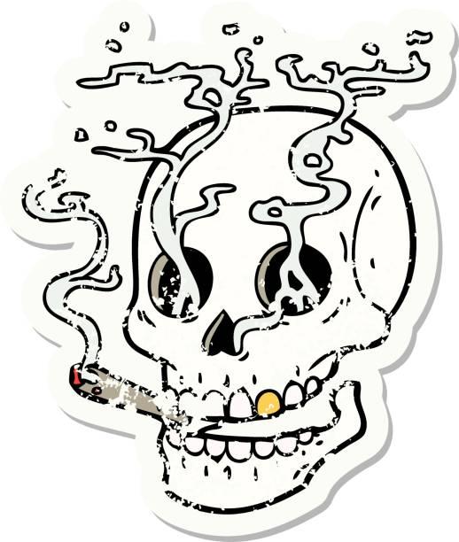 traditional distressed sticker tattoo of a skull smoking vector art illustration