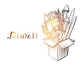 Traditional Indian holiday of Diwali. Box with fireworks. Vector illustration