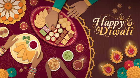 Traditional Diwali celebration at home with food and lamps clipart