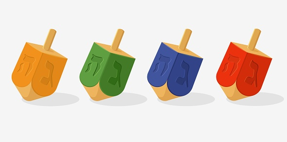 A traditional dreidel for playing during the Jewish holiday of Hanukkah