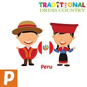 Traditional Dress Country Alphabet Vector Illustration. P Letter Vector Design