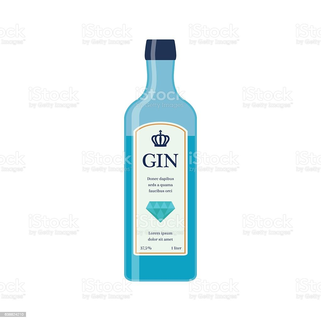 Traditional dry gin in blue bottle. Alcohol drink. Flat style. vector art illustration