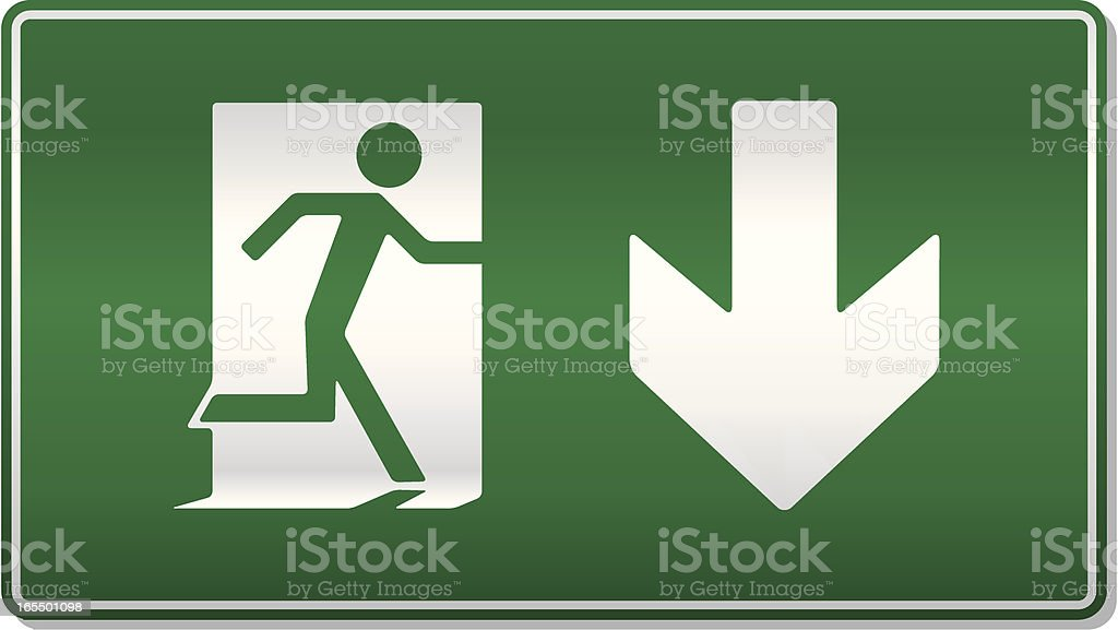 Traditional emergency exit sign vector art illustration