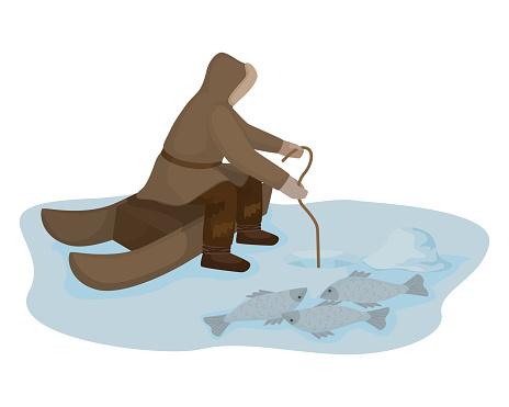 Traditional Eskimo fishing isolated on white background. fisherman sitting near ice hole and fish.