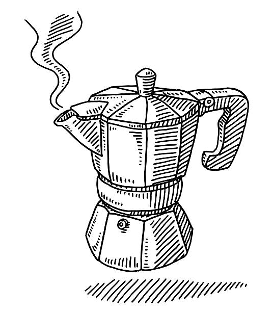 Traditional Espresso Maker Pot Drawing vector art illustration