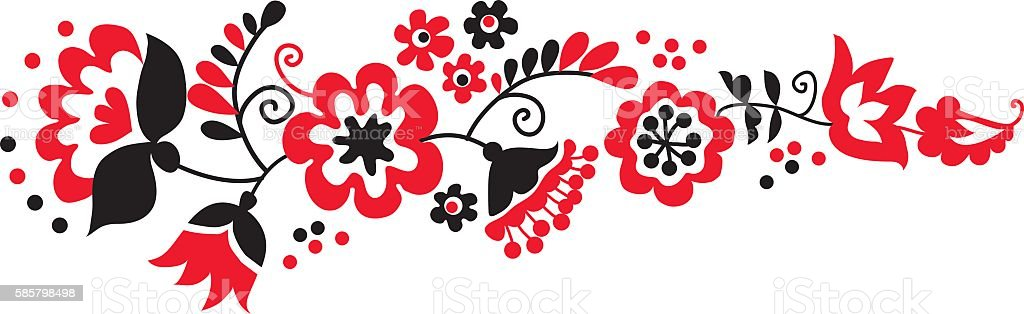 traditional european ukrainian ornament. rustic floral compositi vector art illustration