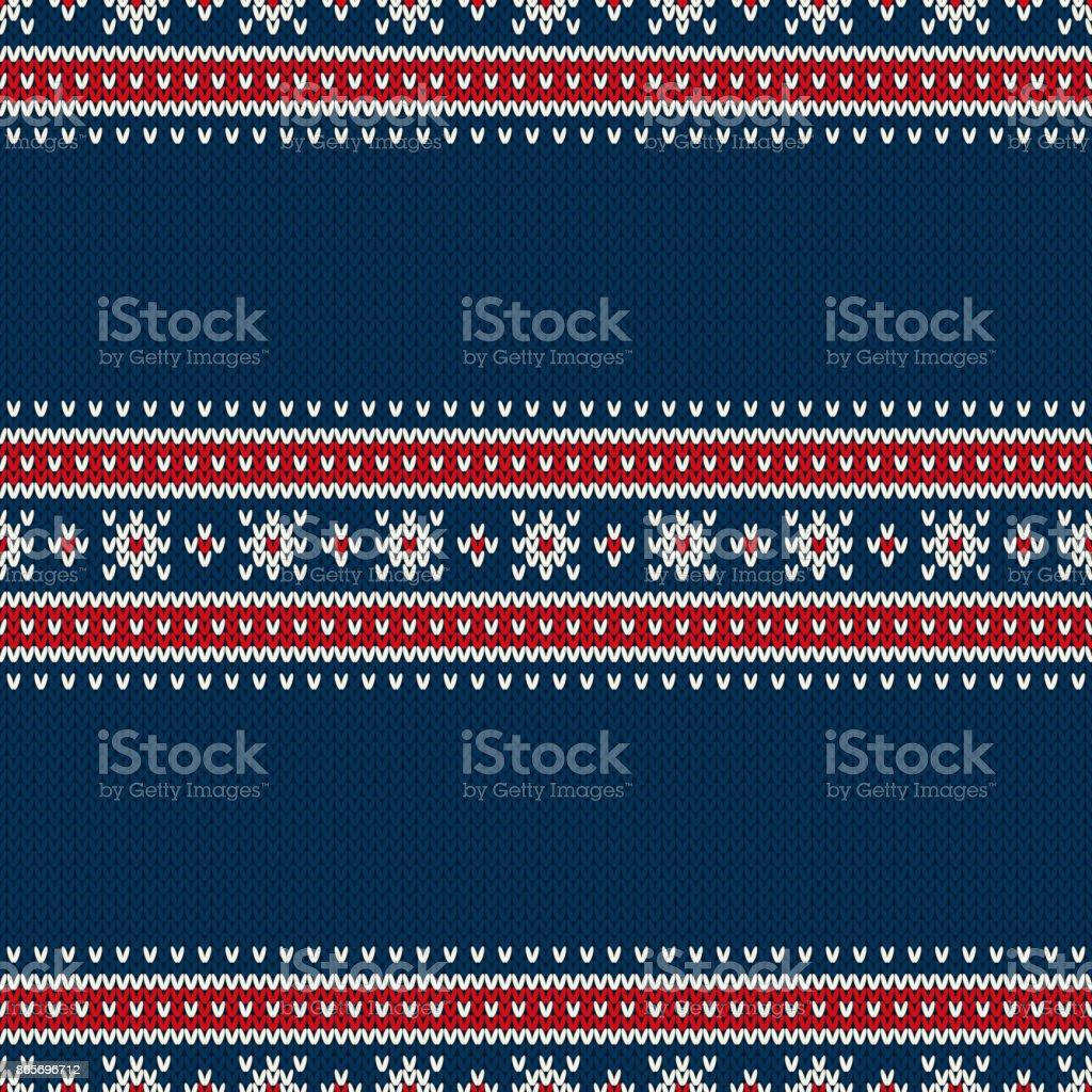 Patrón de punto de estilo Fair Isle tradicional transparente. Navidad y año nuevo diseño fondo con un lugar para el texto - ilustración de arte vectorial