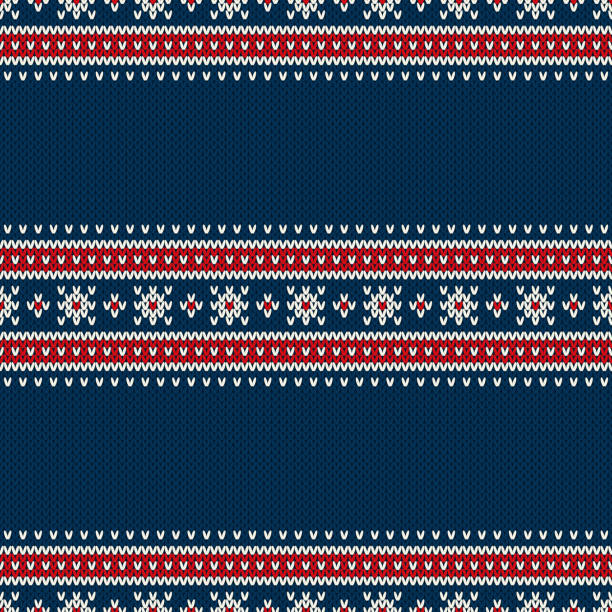 Traditional Fair Isle Style Seamless Knitted Pattern. Christmas and New Year Design Background with a Place for Text Seamless Pattern on the Wool Knitted Texture. EPS available norway stock illustrations