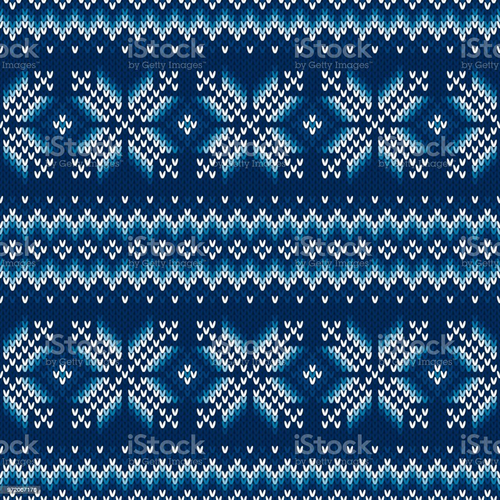 Traditional Fair Isle Style Seamless Knitted Pattern. Christmas and New Year Design Background. Knitting Sweater Design vector art illustration