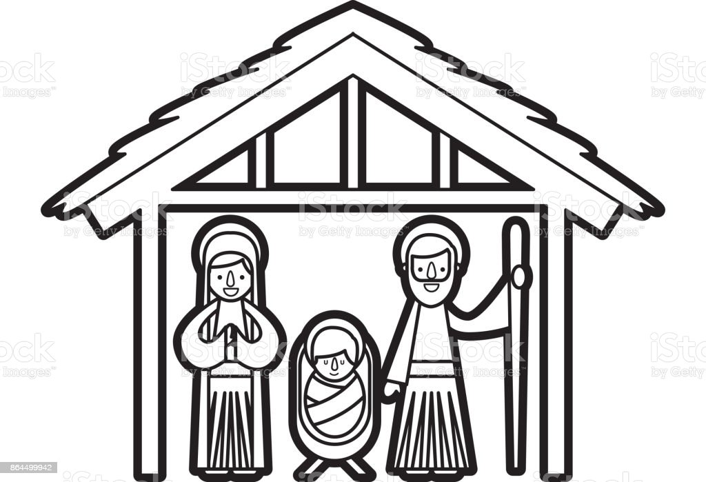 traditional family christmas manger scene baby jesus virgin mary and saint joseph royalty free traditional