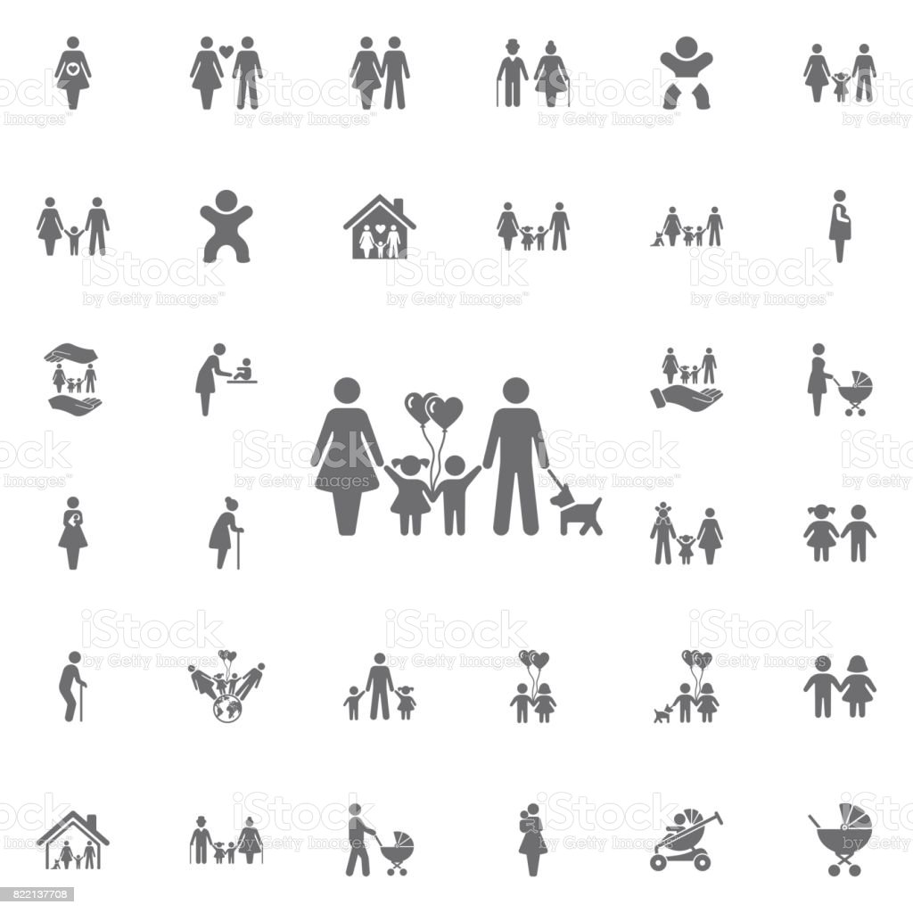 traditional family mom dad boy girl and dog vector illustration. Set of family icons