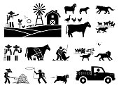 Stick figure illustrations depict farmer, animals, cow milking, sheepdog, herding, sheep, wolf, shearing, and haystack.