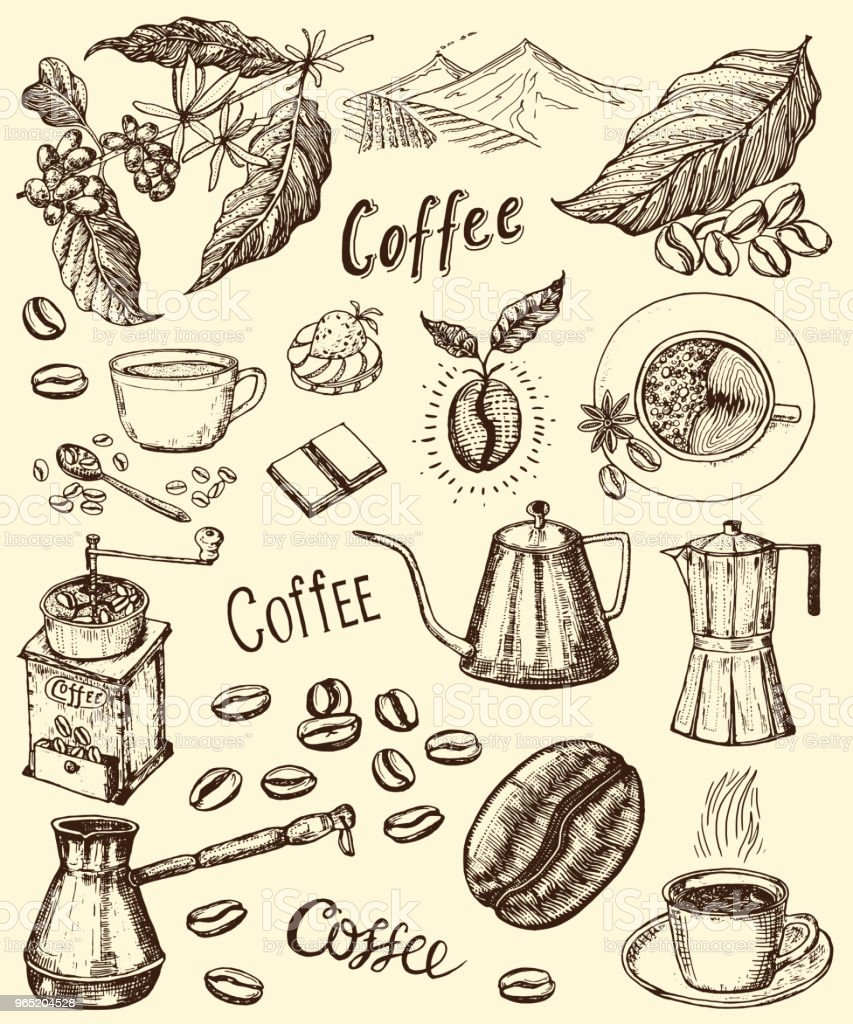 Traditional Filter Coffee Maker. Modern vintage elements, percolator, plants, grain and kettle for the shop menu. Vector illustration. engraved hand drawn in old sketch for card, badges, labels traditional filter coffee maker modern vintage elements percolator plants grain and kettle for the shop menu vector illustration engraved hand drawn in old sketch for card badges labels - stockowe grafiki wektorowe i więcej obrazów archiwalny royalty-free