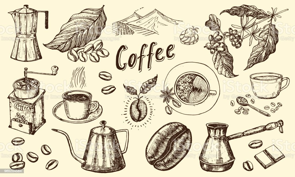 Traditional Filter Coffee Maker. Modern vintage elements, percolator, plants, grain and kettle for the shop menu. Vector illustration. engraved hand drawn in old sketch for card, badges, labels royalty-free traditional filter coffee maker modern vintage elements percolator plants grain and kettle for the shop menu vector illustration engraved hand drawn in old sketch for card badges labels stock vector art & more images of archival