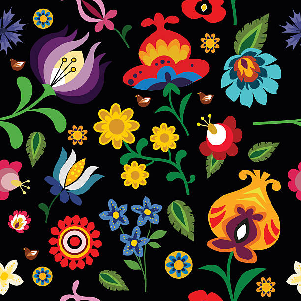Traditional folk floral pattern vector illustration Traditional folk floral pattern illustration. This is a vector image - you can simply edit colors and shapes. polish culture stock illustrations