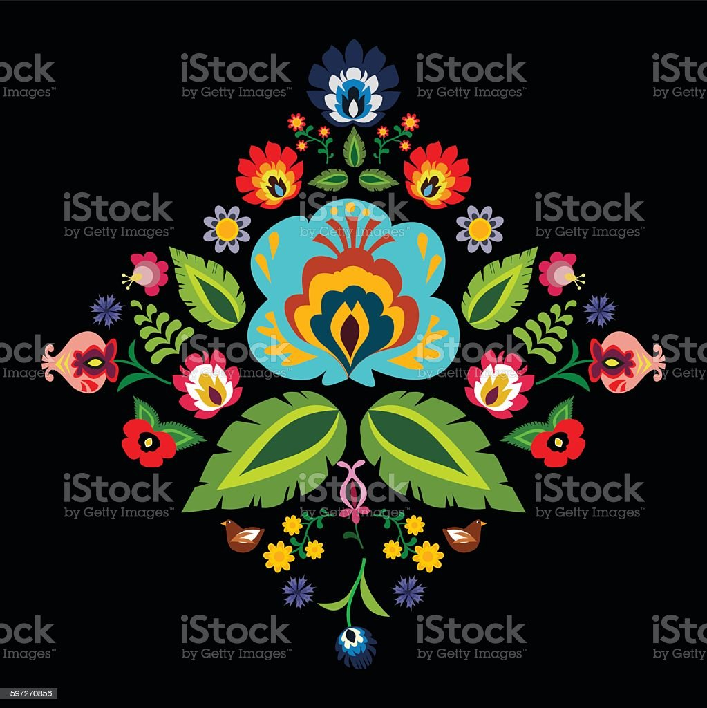folk traditionnel motif floral vector illustration folk traditionnel motif floral vector illustration – cliparts vectoriels et plus d'images de art libre de droits