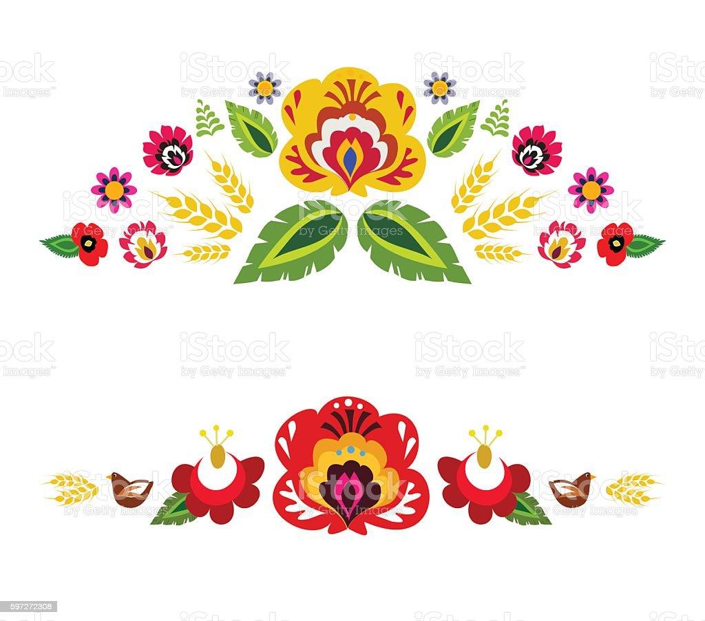 folk traditionnel motif floral vector illustration folk traditionnel motif floral vector illustration – cliparts vectoriels et plus d'images de art libre de droits