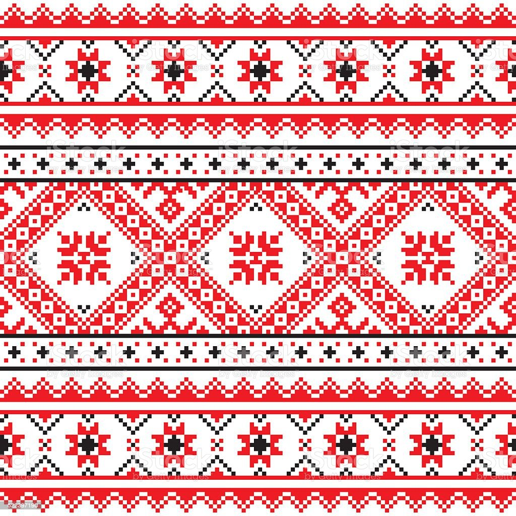 Traditional folk knitted red embroidery pattern from Ukraine vector art illustration