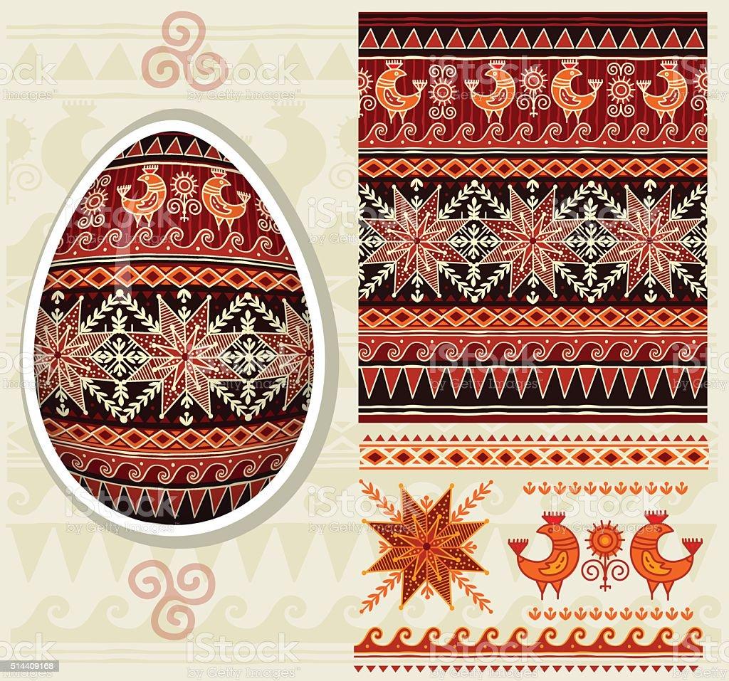 Traditional folk ornament for Easter eggs Pysanka vector art illustration